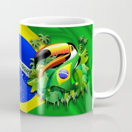 Toco Toucan with Brazil Flag Coffee Mug