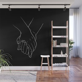 Holding hands,love illustration Wall Mural