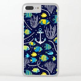 Deep Blue Sea Navy Clear iPhone Case