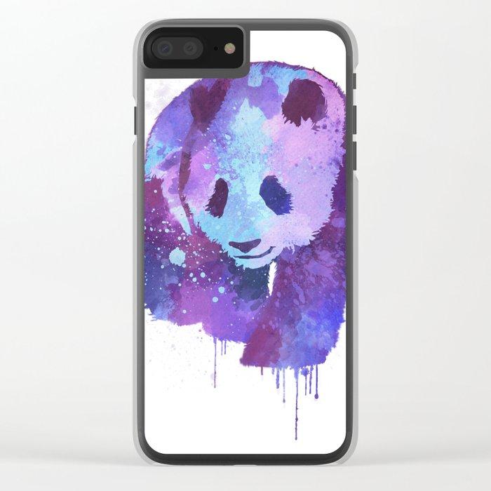 Watercolor Panda in Purple Clear iPhone Case