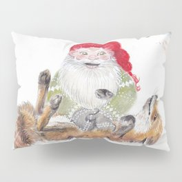 The gnome and his friend the fox - Christmas Pillow Sham