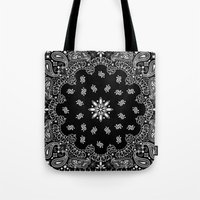 2pac Tote Bags featuring black and white bandana by Marta Olga Klara