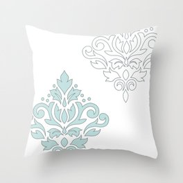Scroll Damask Art I (outline) Blue Gray Wt Throw Pillow