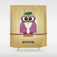 dumbledore Shower Curtains featuring Owlbus Dumbledore by Famous Owls