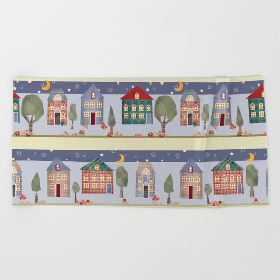 Kids patchwork seamless pattern with houses and trees Beach Towel