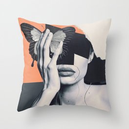collage art / butterfly Throw Pillow