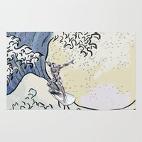 popeye Area & Throw Rugs featuring Great Wave - Silver Surfer by Raisya