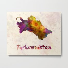 Turkmenistan  in watercolor Metal Print