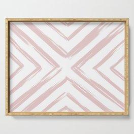 Minimalistic Rose Gold Paint Brush Triangle Diamond Pattern Serving Tray