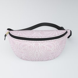 White Mandala on Pastel Pink Linen Textured Background Fanny Pack
