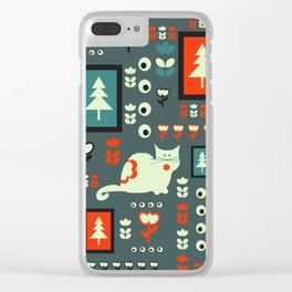 White cat and holiday decor Clear iPhone Case