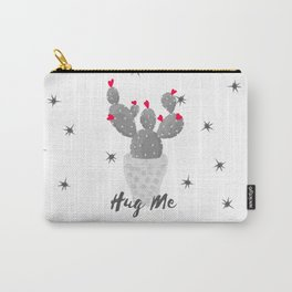 Hug Me Cactus in Pot Hearts Design Carry-All Pouch
