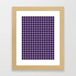 Black and Lavender Violet Diamonds Framed Art Print