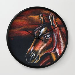 Red horse_Pastel drowing Wall Clock