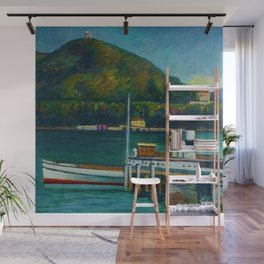 Jetty on Lake Iseo, Lombardy, Italy landsapce painting by Piero Marussig Wall Mural