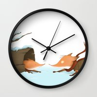 foxes Wall Clocks featuring Foxes by Ramona Treffers