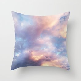 Sunset | Pink Clouds | Sky | Rainbow | Unicorn Colours | Nature Throw Pillow