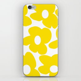 Large Yellow Retro Flowers on White Background #decor #society6 #buyart iPhone Skin