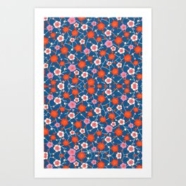 Red and Blue floral Pattern Art Print