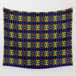 Gold Strands - Navy Blue Wall Tapestry