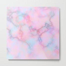 Blush pink teal watercolor trendy marble Metal Print