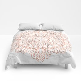Rose Gold Mandala on Marble Comforters