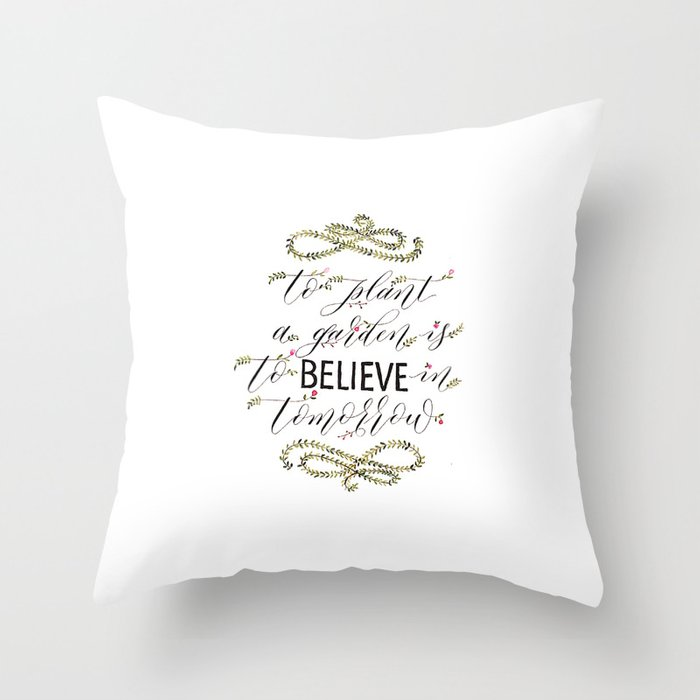 Audrey Hepburn Illustrated Quote - To Plant a Garden Quote  Throw Pillow