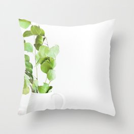 Greenery in a Vase (Color) Throw Pillow