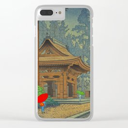 Asano Takeji Japanese Woodblock Print Vintage Mid Century Art Shinto Shrine Forest Clear iPhone Case