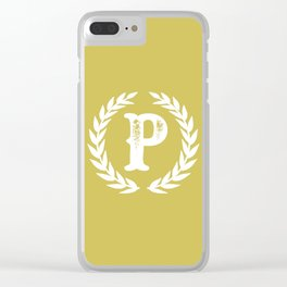 Mustard Yellow Monogram: Letter P Clear iPhone Case