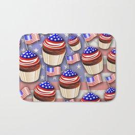 USA Flag Cupcakes Pattern Bath Mat