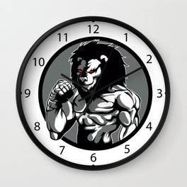 lion man MMA fighter pose Wall Clock