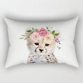 Baby Cheetah with Flower Crown Rectangular Pillow