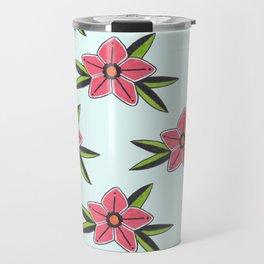 Old school tattoo flower pattern in blue Travel Mug