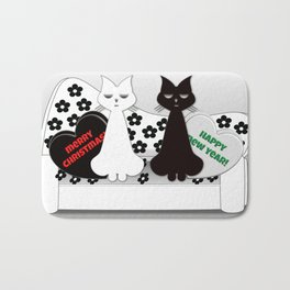 Black and White Cats on Sofa Christmas Bath Mat