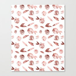 Rose Gold Roses Rosette Pattern Pink on White Canvas Print