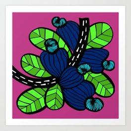 Pink & Blue Cashew Apple Art Print