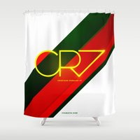 ronaldo Shower Curtains featuring 0003 - CR7 by FIFAMATIC