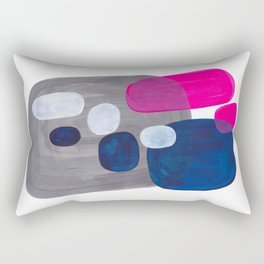 Mid Century Modern Minimalist Colorful Pop Art Grey Navy Blue Neon Pink Color Blobs Ovals Rectangular Pillow