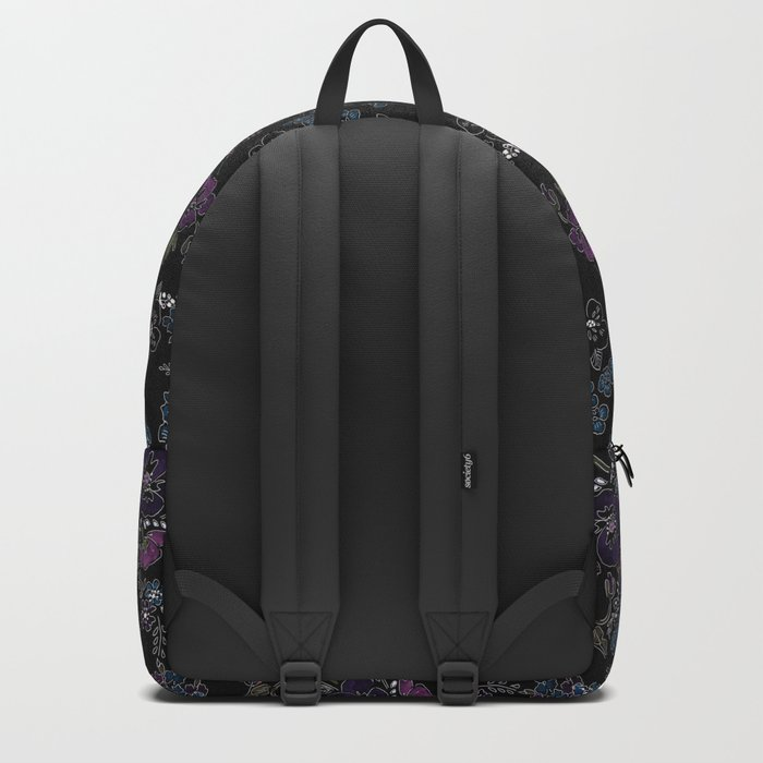 Floral pattern on a black background . Blue and purple flowers . Backpack
