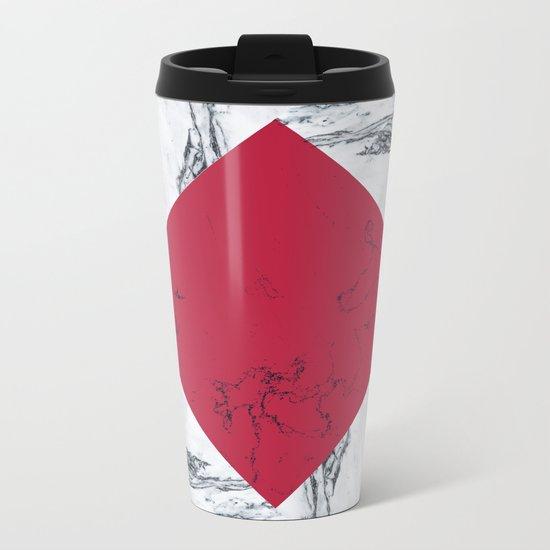 Red + Marble Metal Travel Mug