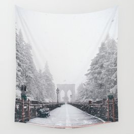 New York City and Brooklyn Bridge Winter/Christmas Wall Tapestry
