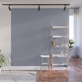 Dark Sargasso Blue and White Mini Check 2018 Color Trends Wall Mural
