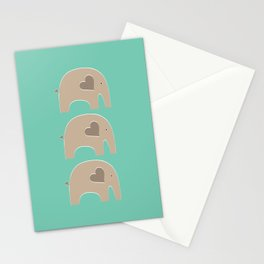Turquoise Safari Elephant Stationery Cards