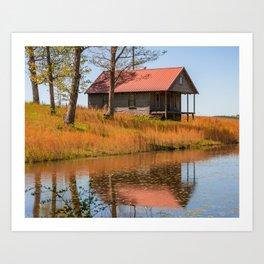 Rustic Arkansas Farmhouse Landscape Art Print