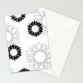 Sunflower pattern with white and black flower. Minimalizm. Stationery Cards