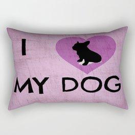I Luv My Dog Pink Rectangular Pillow