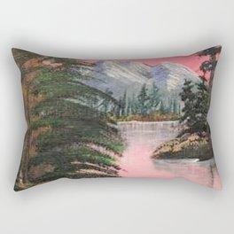 Pink Sky Mountain Landscape Rectangular Pillow