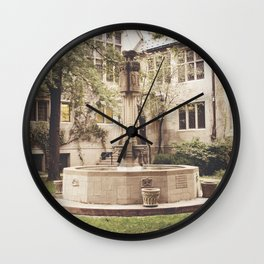 Fountain Courtyard Color Photo Wall Clock
