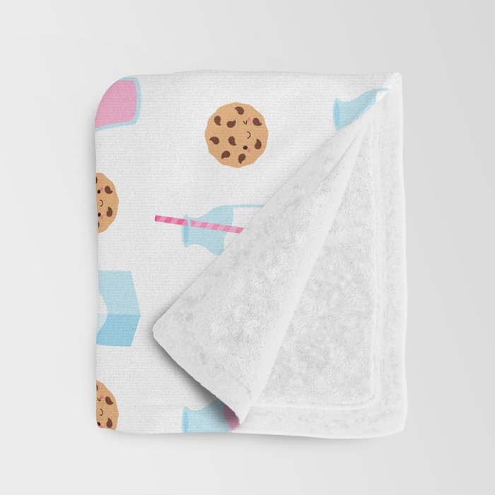 Milk and Cookies Pattern on White Throw Blanket